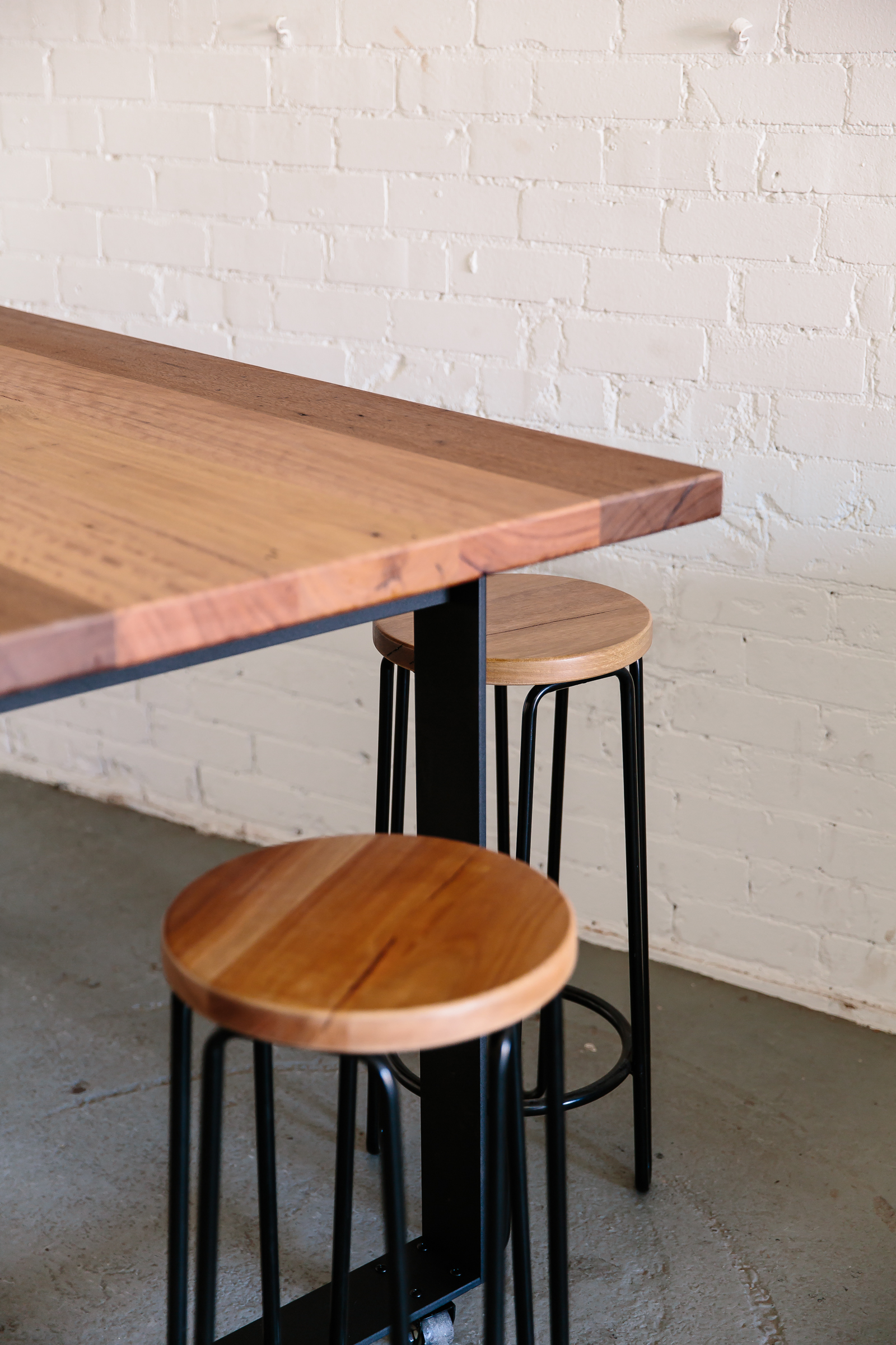 'wambrook' top + 'box' base in bar height | shown with hairpin stools in spotted gum.