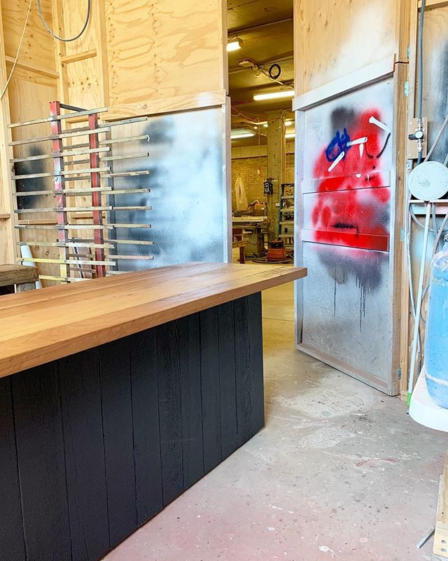 In progress... Recycled Oregon clad reception counter (with solid paint finish) and a recycled hardwood top waiting for its final coat ✔️#timbermillcustom