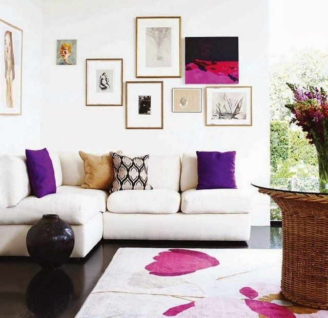 Subtle pops of Ultra-Violet make this living room an eclectic and feminine dream.