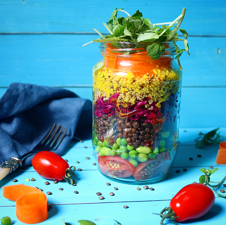 Rainbow Layered Salad Jar