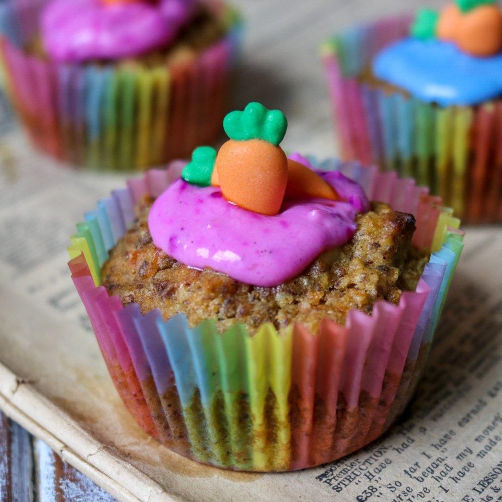 Rainbow Carrot Cake Muffins