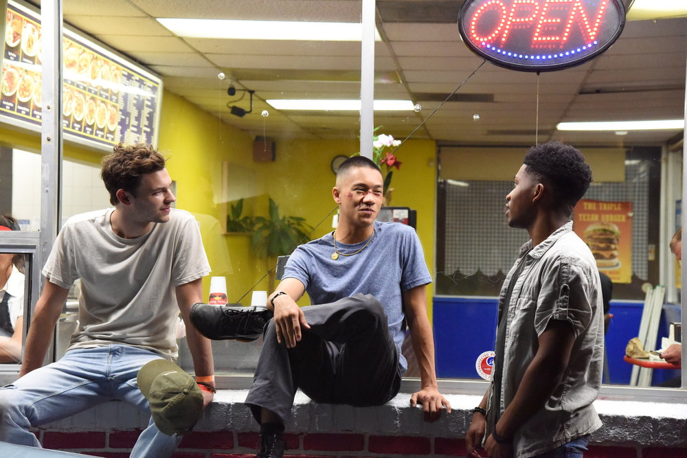 Actors  Nick Fink ,  Brandon Soo Hoo  and Willie Huggins IV bond in between takes.