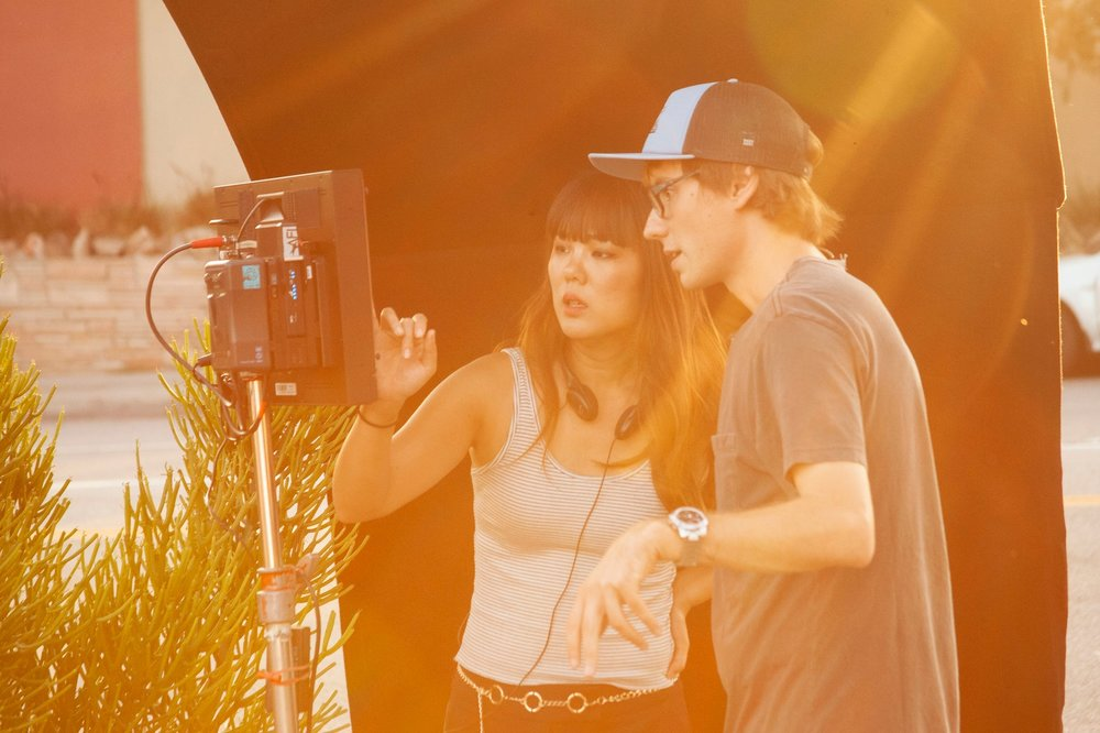 Director  Angela Chen  and DP  Michal Wronski  checks frame before a take.