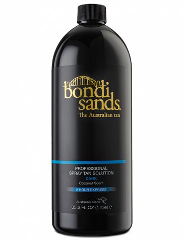BONDI SANDS - DARK    About:  Bondi Sands fast drying professional spray tan solution is enriched with aloe vera, infused with a fresh scent of coconut.   Average length of tan:  5 Days +   Development Time : 2 Hours   Result:  Darker tones for those who are used to a tan and wish for a more darker, subtle look.   Suitable For:  Those with an olive complexion or those who prefer a darker glow.   Active Ingredients:  12% DHA with Dual Tanning Actives