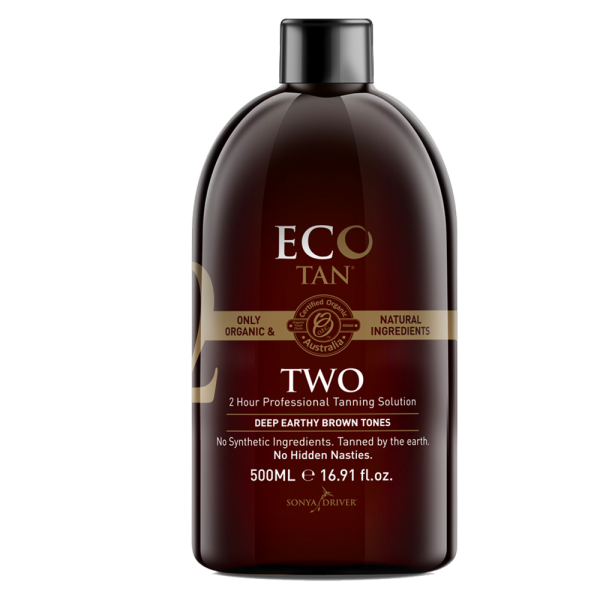 ECO TAN TWO  - Organic, Vegan & Cruelty Free    About:  Two Solution delivers stunning deep, earthy brown tones! It contains nothing artificial and is free from synthetic ingredients. Instead, it is made with only certified organic and natural ingredients sourced from Mother Nature.   Average length of tan:   With correct tanning preparation and maintenance, your colour will fade naturally and evenly on your skin. As a result this organic spray tan usually lasts between approximately 7-10 days.    Development time:  It has a wash of time of 2+ hours.   Result:  Deep, earthy browner tones.   Suitable for:   Medium to darker skin tones. It has been created for normal to oily skin.  People who have had a spray tan before and want to be darker.
