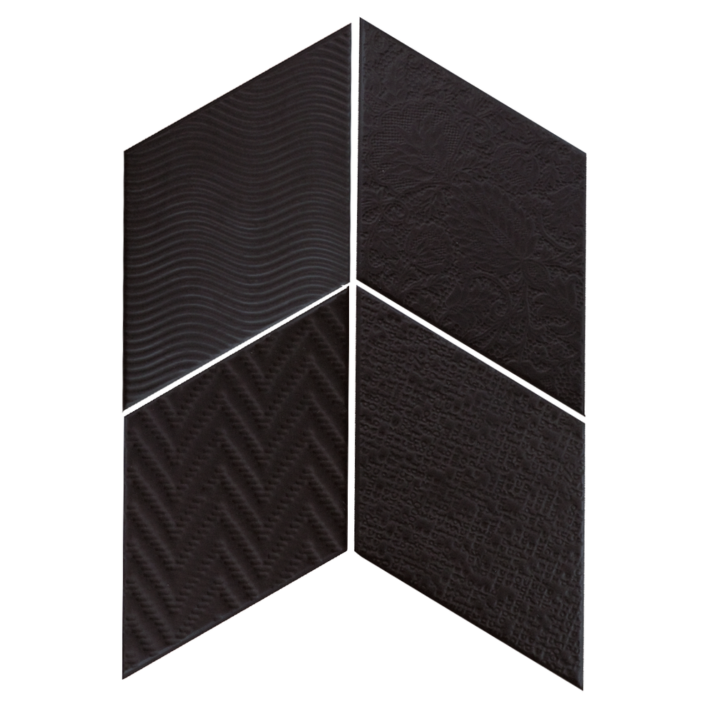 Rhombus Black 14x24 cm  Floor & Wall Tile / Porcelain / R9