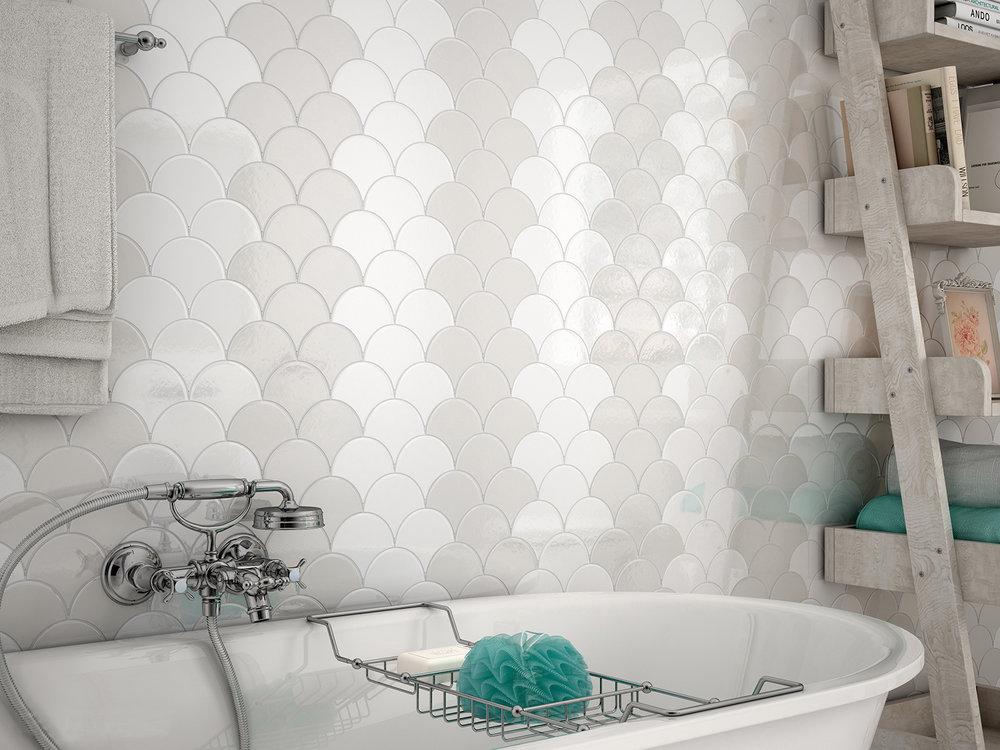 Scale 12x2 cm  White Body/Wall Tile/Brillo