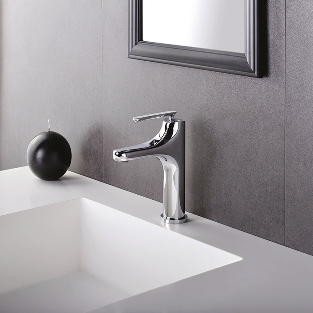 """BE 22051  Available in Chrome color. Accepts indent orders for other colors.  Basin mixer with 1""""1/4 Up & Down waste"""