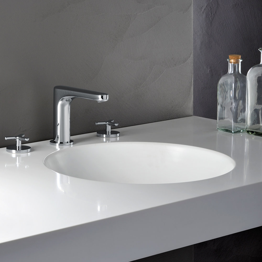 """BE 20590  Available in Matt Silver color. Accepts indent orders for other colors.  3 hole basin mixer with 1""""1/4 Up&Down waste"""