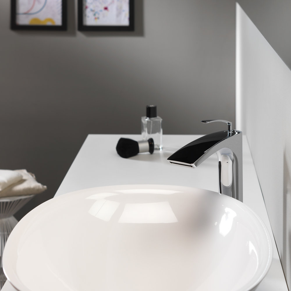 """BO 228  Available in Chrome color. Accepts indent orders for other colors.  Tall basin mixer 1"""" 1/4up & down waste"""