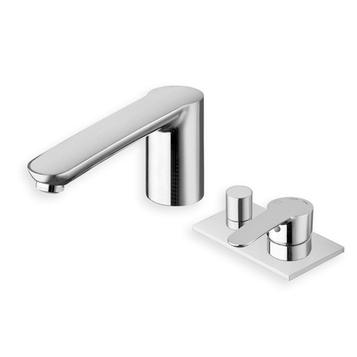ND 18151  Available in Chrome color. Accepts indent orders for other colors.  3 hole deck mounted bath mixer with diverter, spout and metal plate