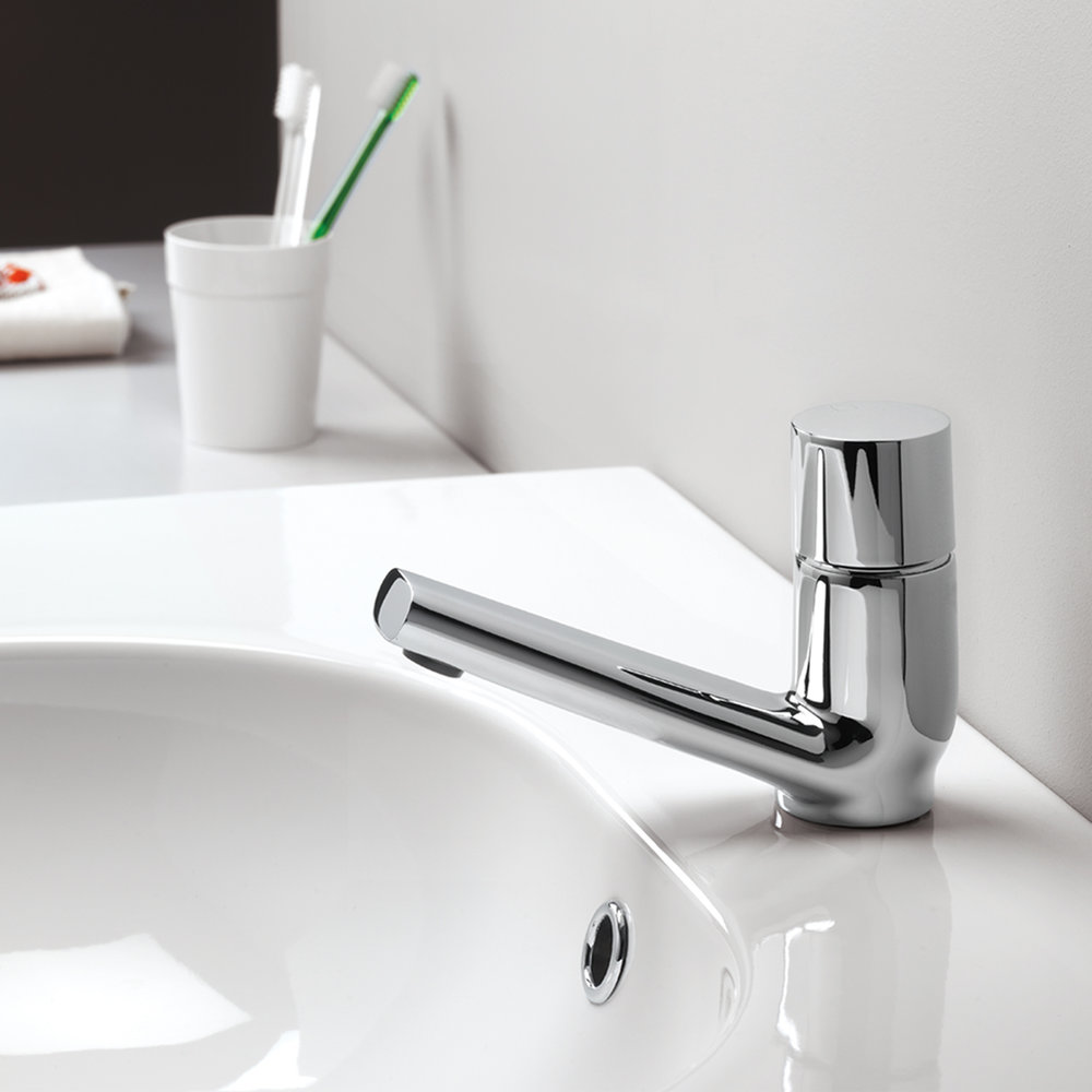 """RU 22051  Available in Chrome color. Accepts indent orders for other colors.  Basin mixer with 1""""1/4 Up & Down waste"""