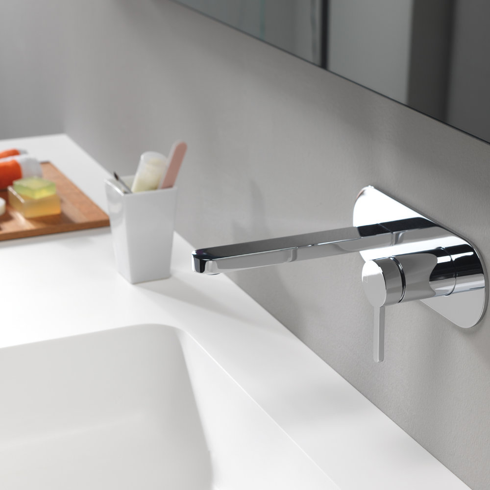 "UC 27651  Available in Chrome color. Accepts indent orders for other colors.  Complete wall mounted basin mixer with 1""1/4 Up&Down waste and metal plate - right side"