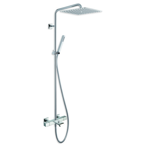 "QD 188 ""Cold touch"" external thermostatic bath mixer with swivel column pipe, 25x25 cm SANDWICH SPECIAL overhead shower, anti-lime hand shower and LONG LIFE flexible hose"