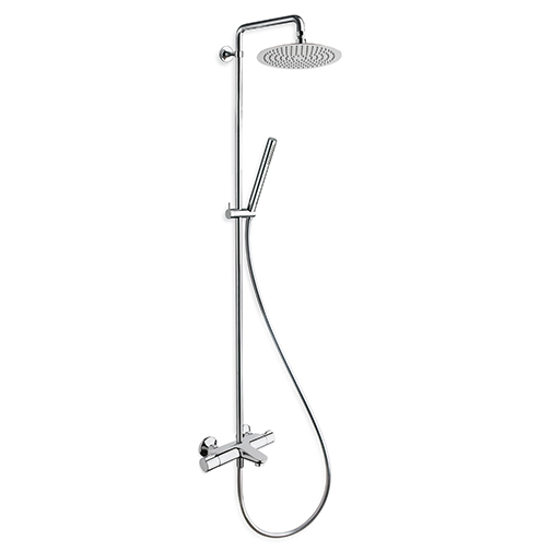 """TE 109 """"Cold touch"""" external thermostatic bath mixer with ABS handle, Ø 20 cm SANDWICH SPECIAL overhead shower, anti-lime hand shower with slide rail and LONG LIFE flexible hose"""