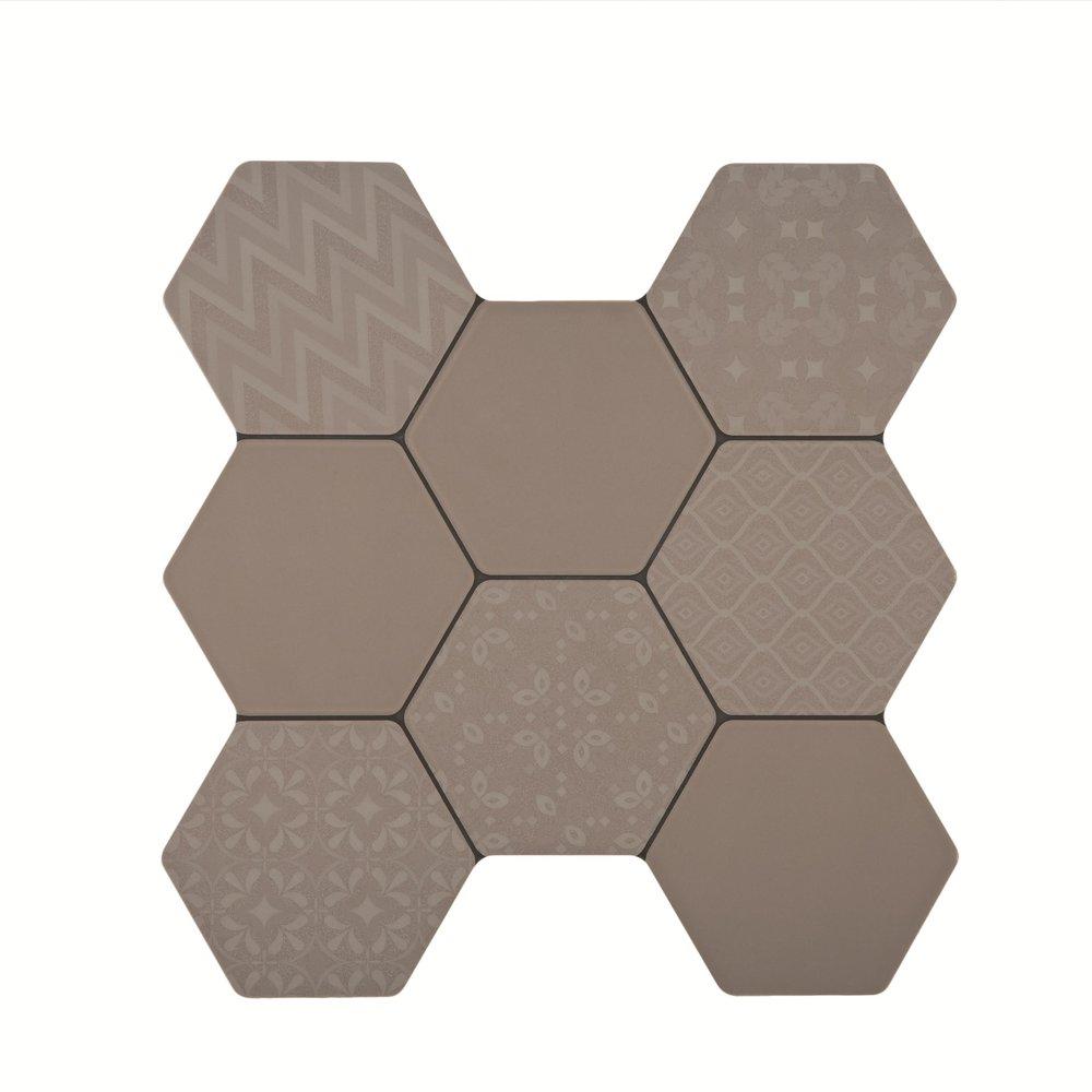 Europa H Gris Decor 38.6x40.4 cm  (random design) Floor & Wall Tile / Red Body / Brillo