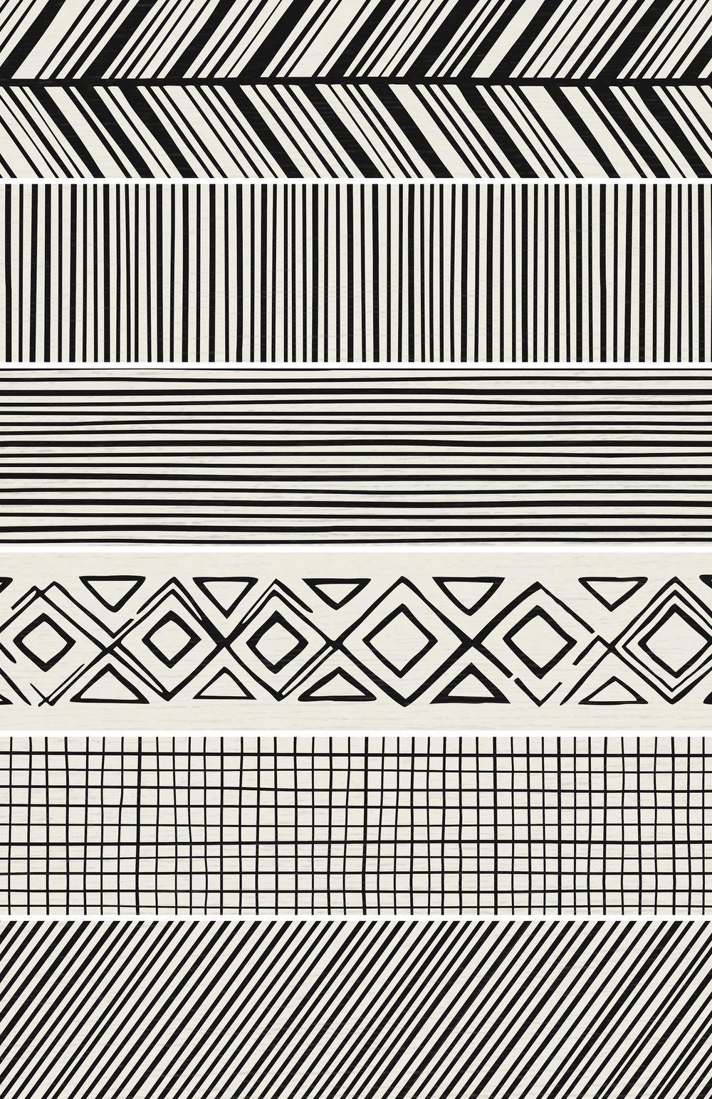 Takenos Picasso Mix White 14.6x59.3 cm  Floor & Wall tile/ Porcelain / Matt/ random design