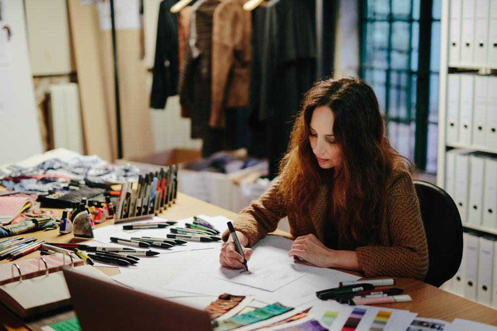 Pilar working at her studio