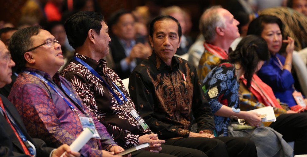 President of Indonesia, Joko Widodo in the audience at the Tri Hita Karana Forum