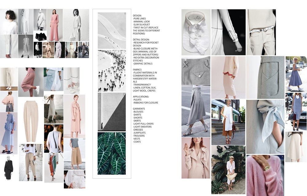 STEP 1:Creating the identity of your brand and collection. - HOW?> moodboard with colors - details - fabric options and images that are an inspiration for you.> we do this on Pinterest where we can both add images and create a strong vision for your collection.