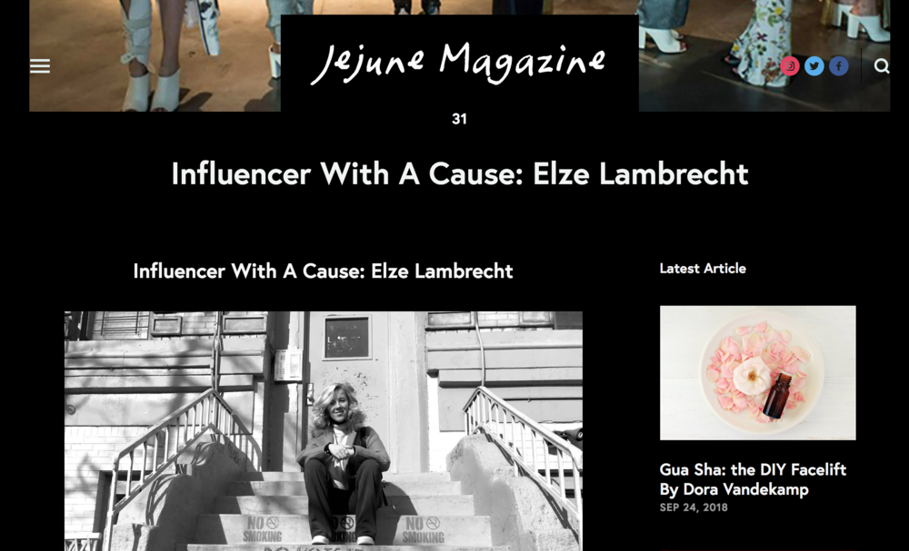 Interview for Jejune Magazine - https://www.jejunemagazine.com/home/2018/8/29/elze-lambrecht