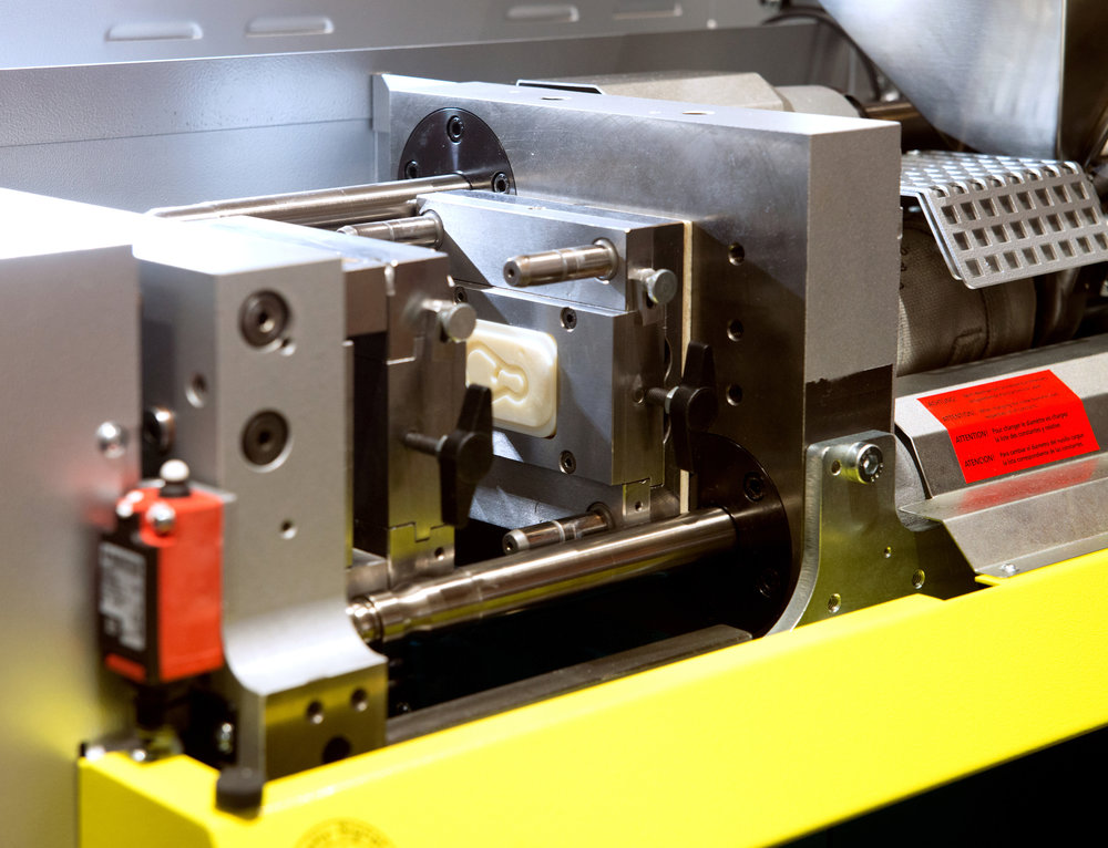 A part of an injection moulding machine.