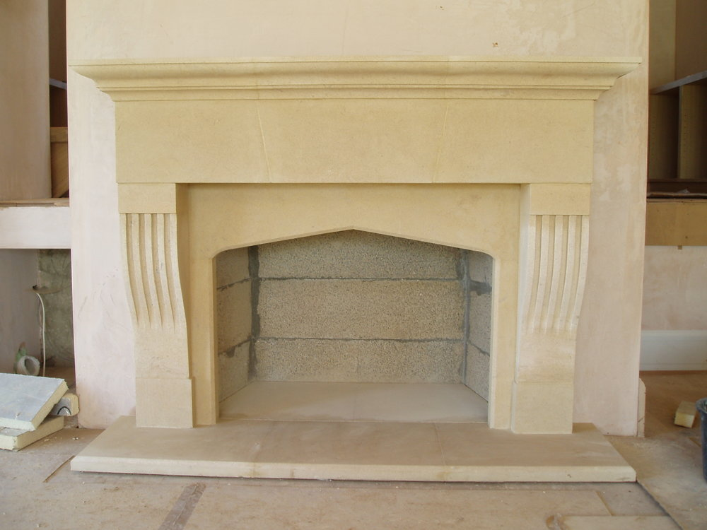 We design and carve architectural features and stone fireplaces.  Each piece is individual and made to suit the clients taste and the property to which it is to be added.  We use a variety of stone types depending upon the type of building and it's location in the UK.  Local stone types tending to be preferred particularly if the building is constructed from stone.