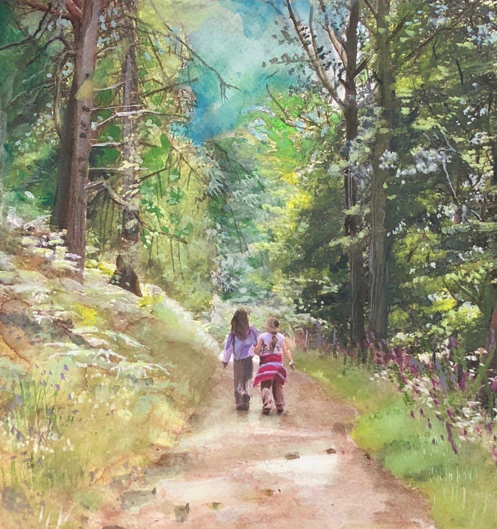 Sisters strolling in Keswick...