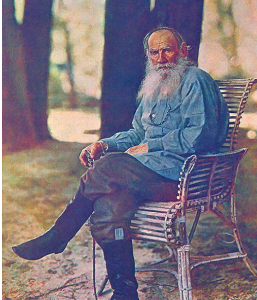 TOLSTOY AND HIS FABULOUS SMOCK - As you probably recall, Tolstoy's passion for the psychologically restorative activity of mowing a meadow is embodied most clearly in Anna Karenina, when Levin, spurned by Kitty, escapes to his country seat, picks up his scythe and joins his army of serfs for a day.  He swings his scythe repeatedly, under a fulsome Russian sun, mesmerically cutting row after row in the company of people who are essentially his slaves, but who do not appear to resent him. And when they are all exhausted, they lie back together in the hay and talk about love. Thus Levin regains peace of mind. Tolstoy does not tell us what Levin is wearing, but it is highly likely that a peasant smock would have been in order.Lev Tolstoy wears such a garment in practically all of his later portraits. He was even clad in one while having his final fateful argument with Sofia, his wife, before fleeing his idyllic ancestral estate Yasnaya Polyana on a wintry night in late October 1910. Thence he wandered for three fitful weeks until, beset by pneumonia and eerie petulance, he died in the tiny rail station of Astapovo. He was 82