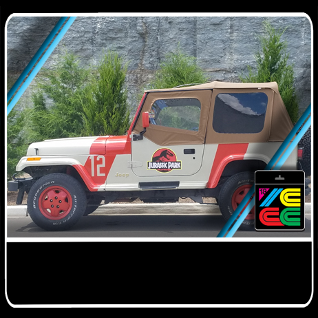 Jurassic Park Jeep - Jeep 12 was one of the many purchased for by InGen for Jurassic Park.It was the Jeep taken by Dennis Nedry during his theft of the dinosaur embryos. Driving in the storm, Nedry lose control of the vehicle and ended up grounding it on a ridge overlooking the road to the dock. Nedry was killed inside of the Jeep by a Dilophosaurus.After finding the Barbosal can and encountering the Dilophosaurus that killed Nedry, Nima freed the car and almost ran over Chadwick it crashed into the tree where the winch cable was tied to and damaged the hood. Nima managed to fix the battery, but she and Chadwick were surrounded by Dilophosaurs. Nima tried to start the car as a Dilophosaurus tried to break through the windshield, but she put the car in reverse and ran over a Dilophosaurus, killing it and crashed into a wall.It is unknown what happened to Jeep 12 after the Isla Nublar Incident of 1993, but The Jurrasic 12 of Middle Tennessee found it and you can see it at their booth at ICCC!
