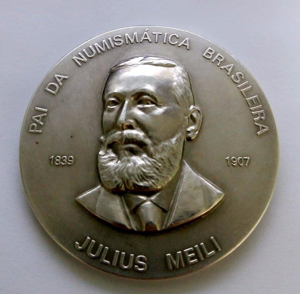 Medalha Julius Meili - Pai da Numismática Brasileira Cunhada pela Casa da Moeda do Brasil Medalha de prata 900mls, comemorativa a Julius Meili, pai da numismática brasileira, 1839 - 1907