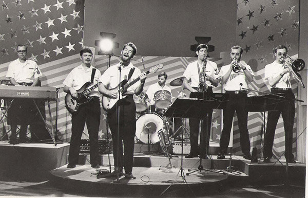 Wayne Taylor performing with the 7th Fleet Navy Band Japan, on a TV Show in Hong Kong - 1977