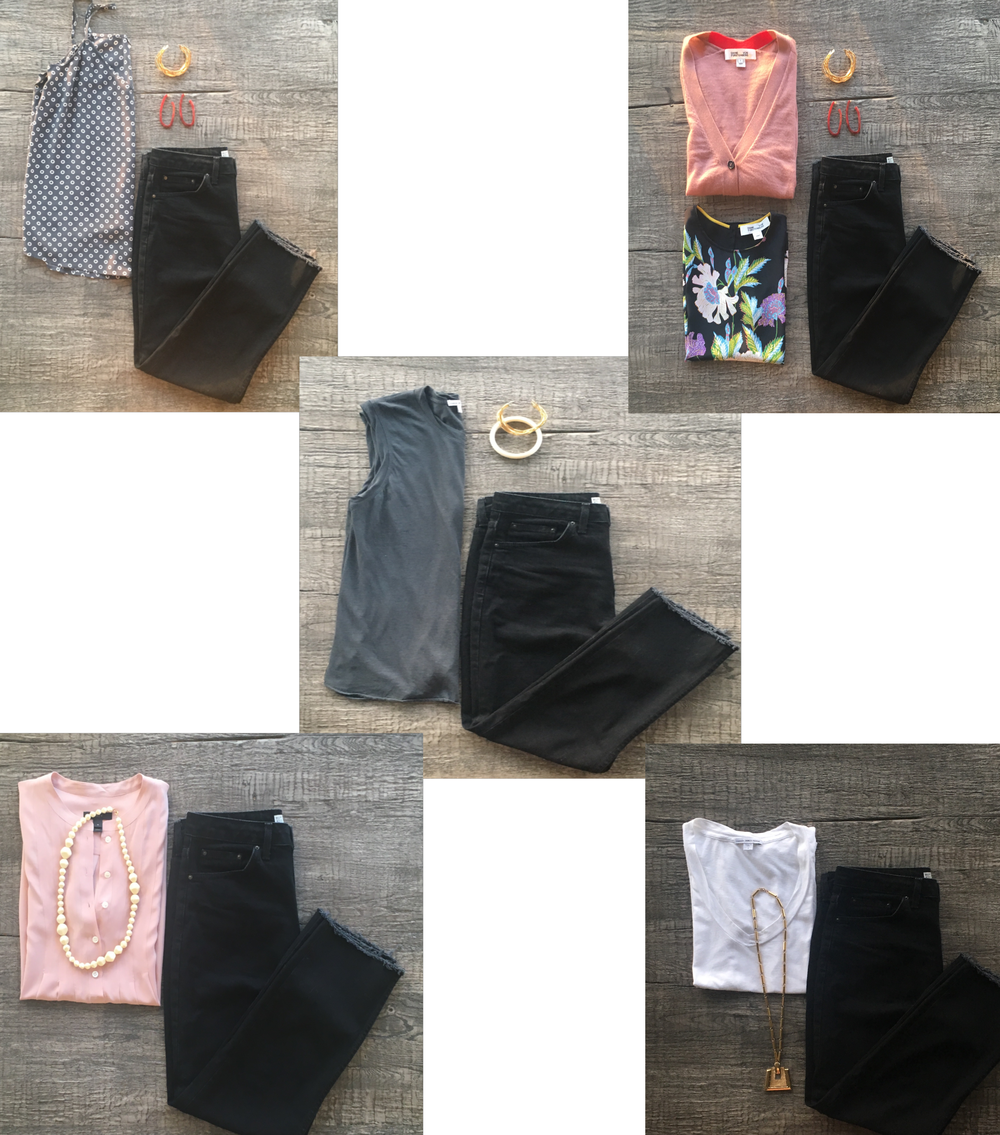 Five outfits using black jeans as the base.
