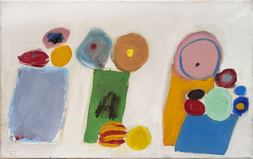 "Edith Schloss ""Rignalla,"" 1967, Oil on canvas, 13 3/4 x 21 1/2 in."