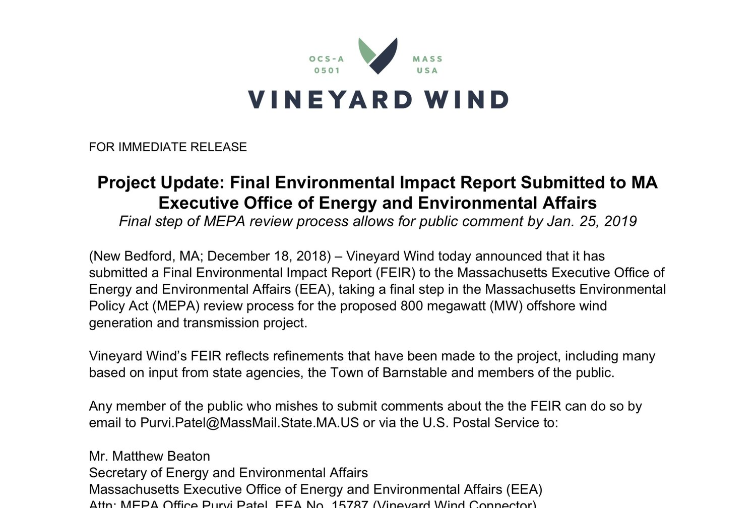 Project Update: Final Environmental Impact Report Submitted to MA Executive Office of Energy and Environmental Affairs