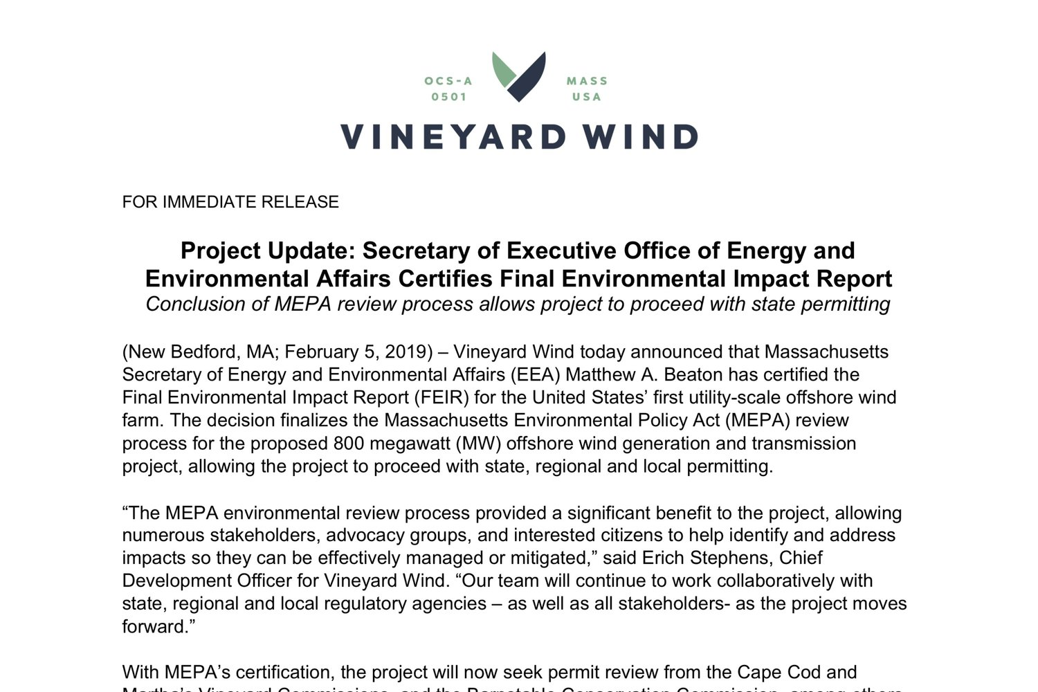 Project Update: Secretary of Executive Office of Energy and