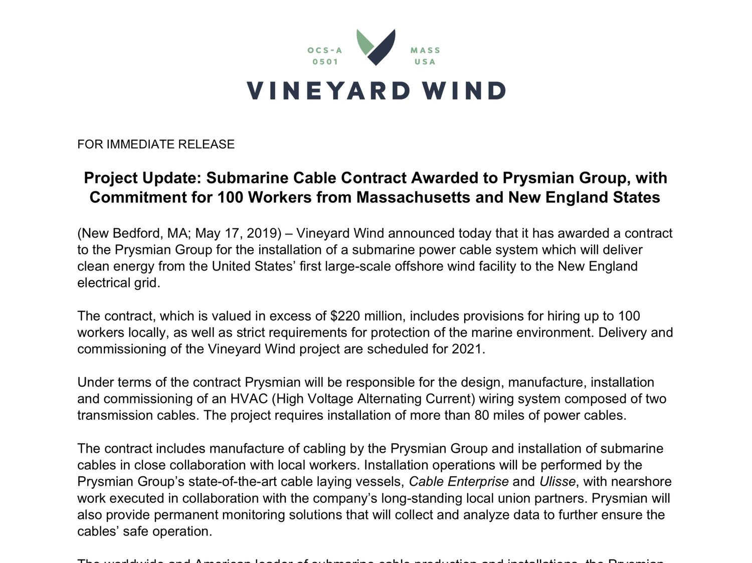 Project Update: Submarine Cable Contract Awarded to Prysmian Group