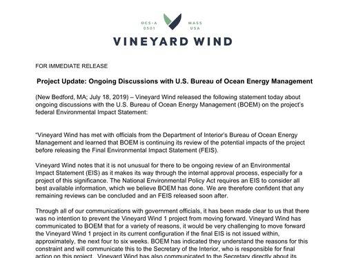 News — Vineyard Wind
