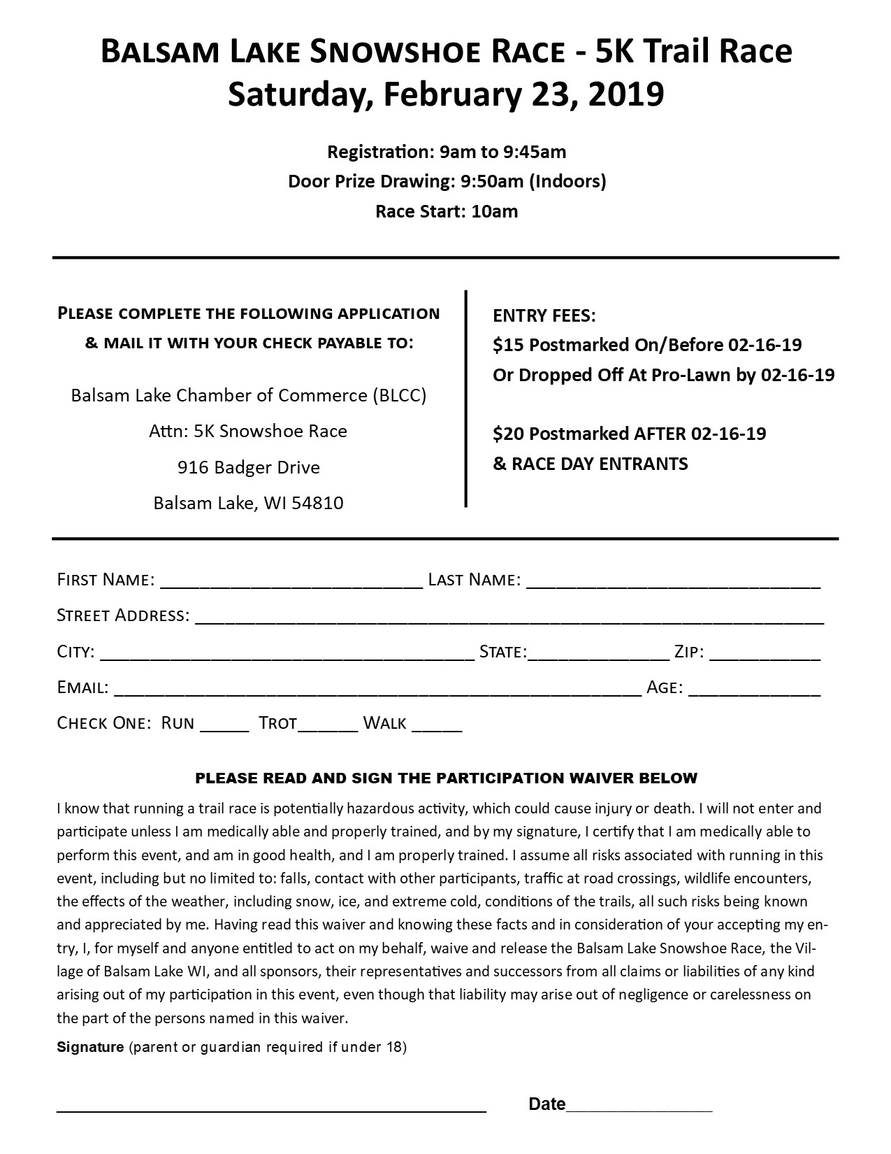 Balsam Lake Snowshoe Race Registration Form