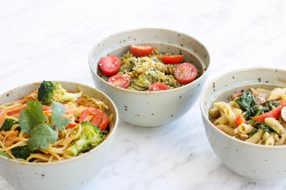 Three easy pasta dishes that anyone can make in 15 minutes! Perfect for on-the-go lunches or weeknight dinners.All vegan, low in fat and can be made gluten free and/or high in protein.