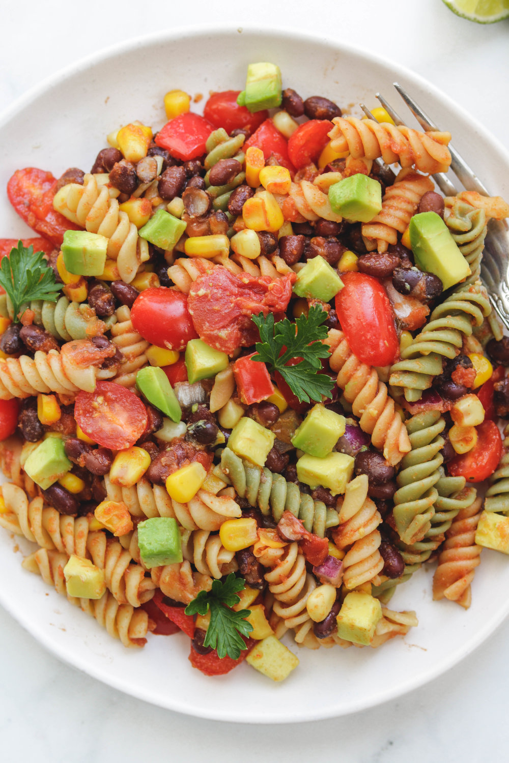 Vegan Mexican Pasta Salad Clos Up (1 of 1).jpg