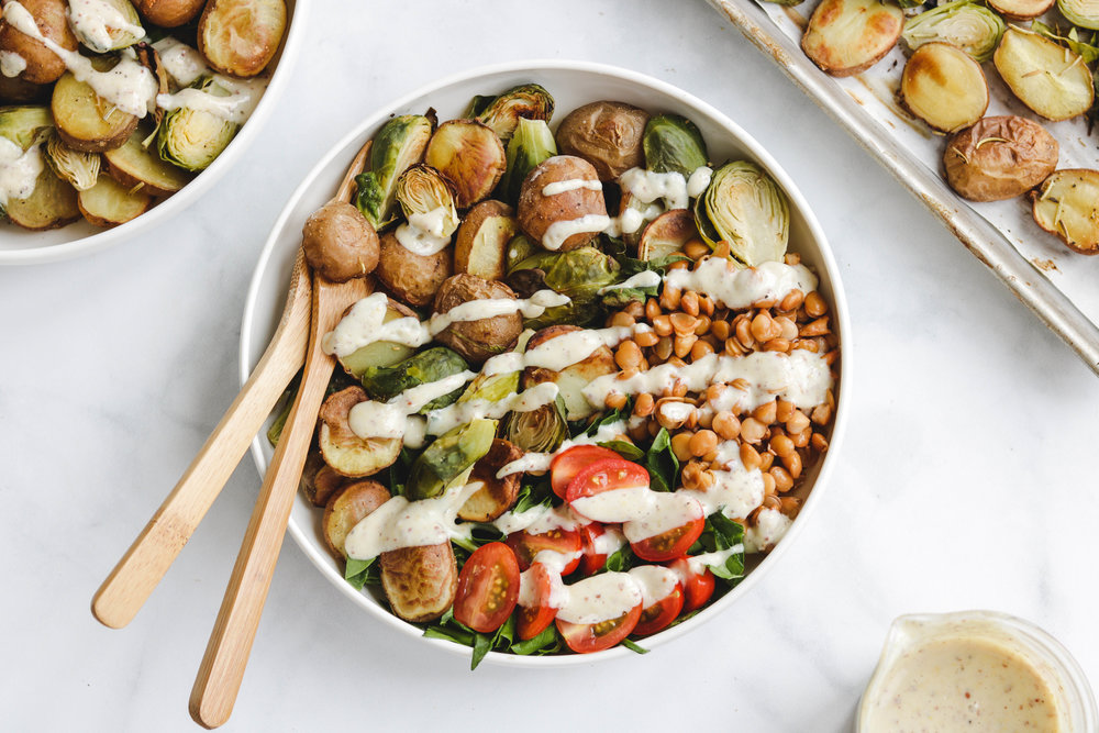 Lentil + Roasted Potato Brussel Sprout Salad with Maple Dijon Cream Cheese Dressing  (1 of 1).jpg