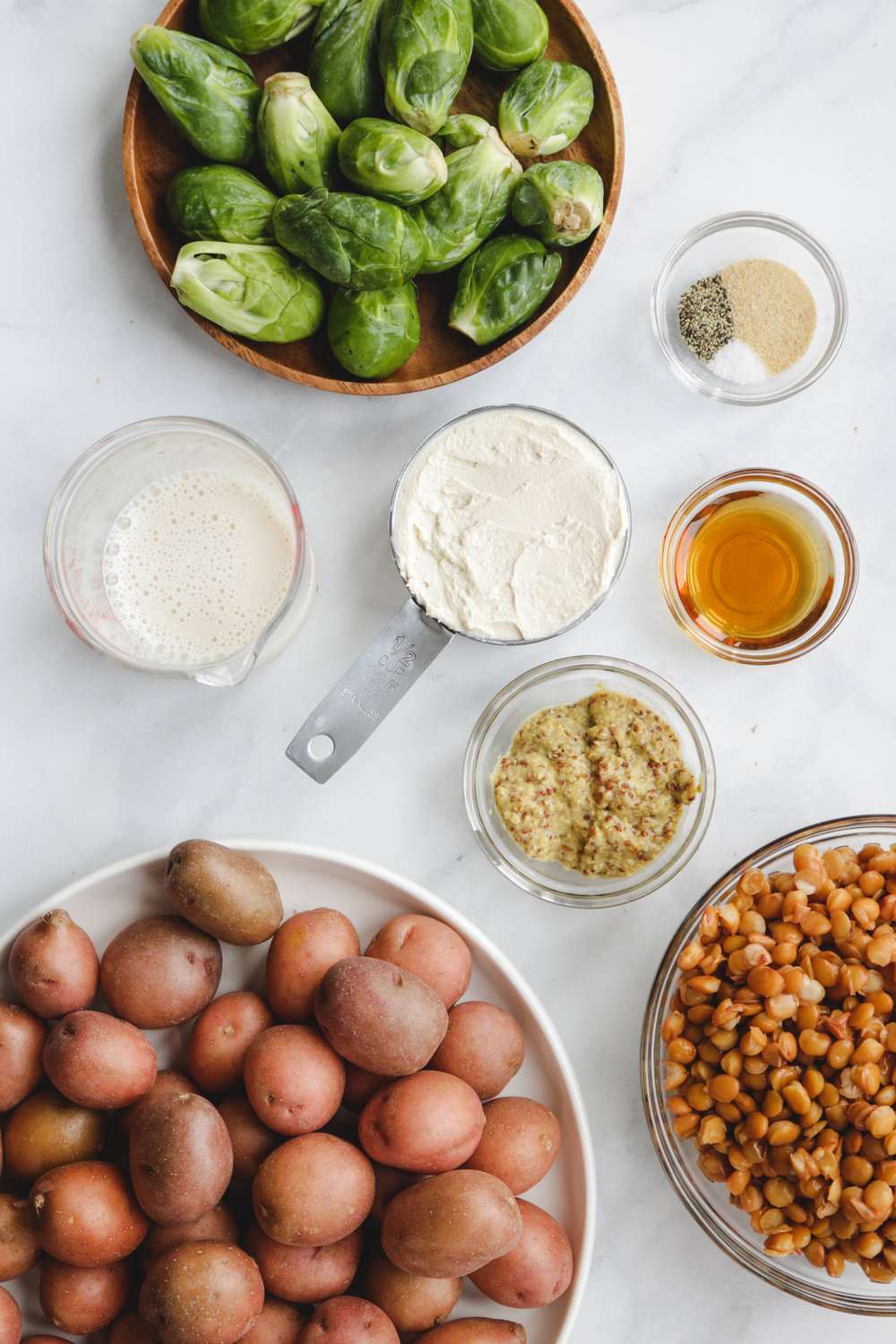 Lentil + Roasted Potato Brussel Sprout Salad with Maple Dijon Cream Cheese Dressing Ingredients (1 of 1).jpg