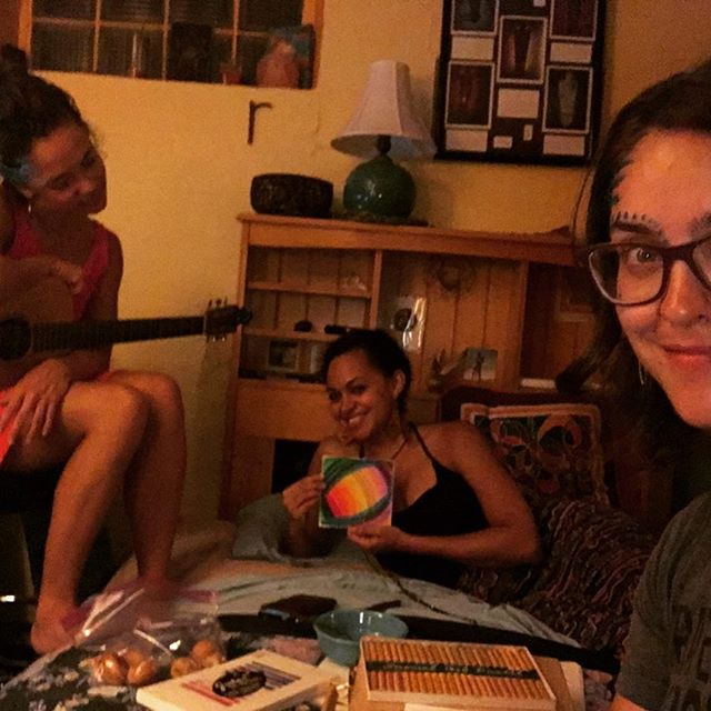 Song night with these beauties complete with Sophie B Hawkins, face paint and rainbow portals... @ihotuali @rendoublee87 #art