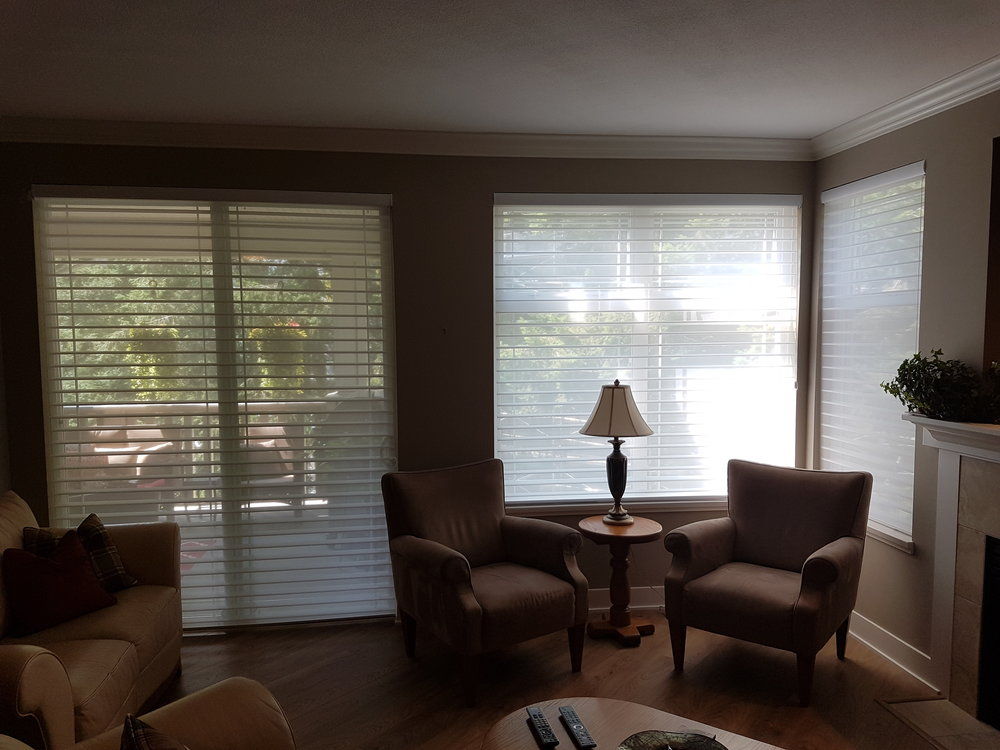 PRIVACY and UV CONTROL TO PREVENT GLARE &INTERIOR FADING (note how glare is captured in both shades on right and does not enter room.)     Nantucket Shades - White Rock, BC