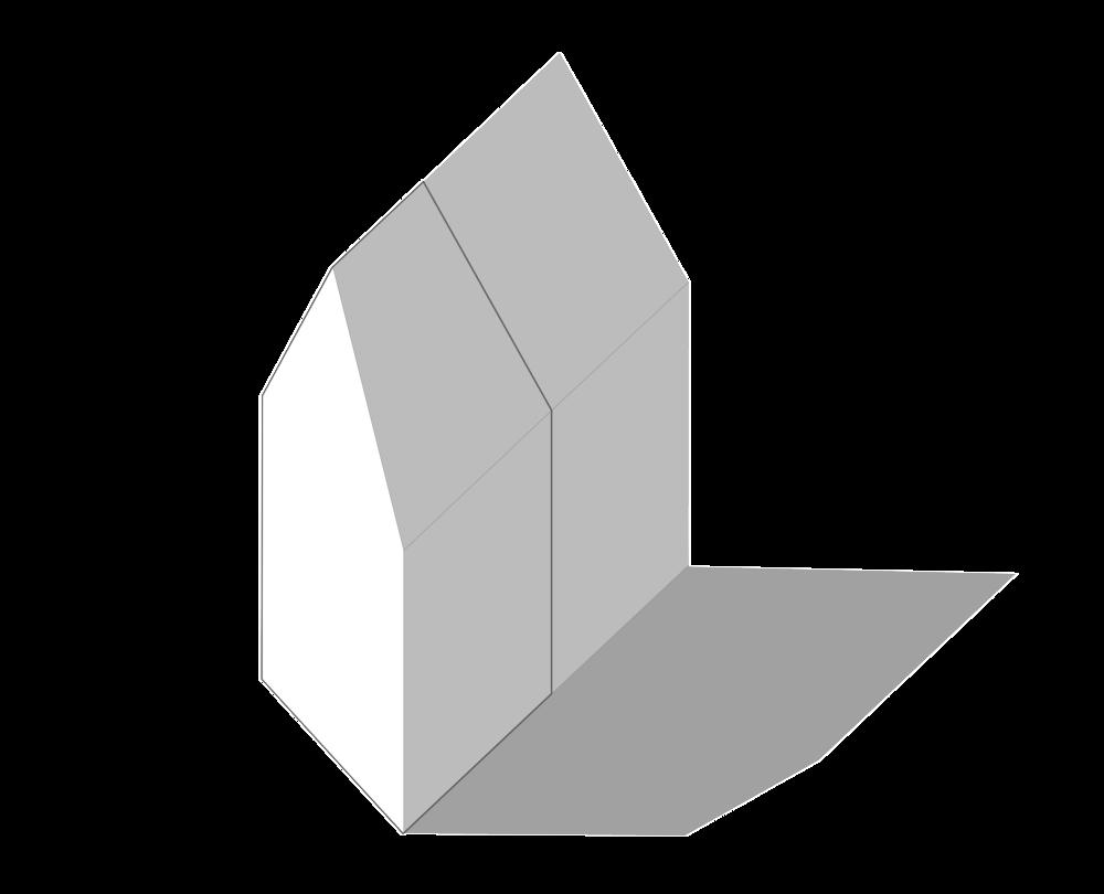 Het volume volgt de contour van zowel de footprint als de blinde gevel van het pand aan de Geregracht.
