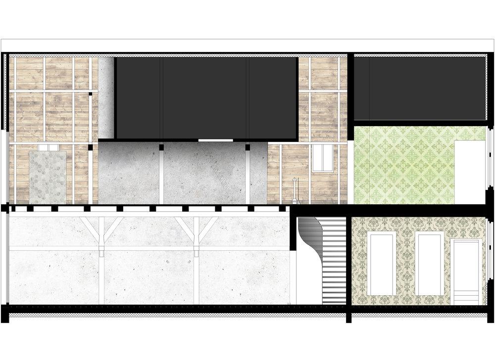 Doorsnede van landhuis en boerderij. Ontwerptekening van de renovatie en restauratie met aanzicht badkamer en trap