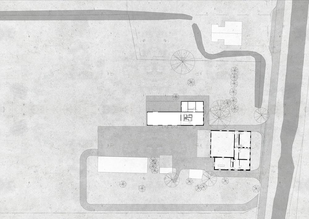 Situatie van de schuurwoning en het landhuis in het polderlandschap