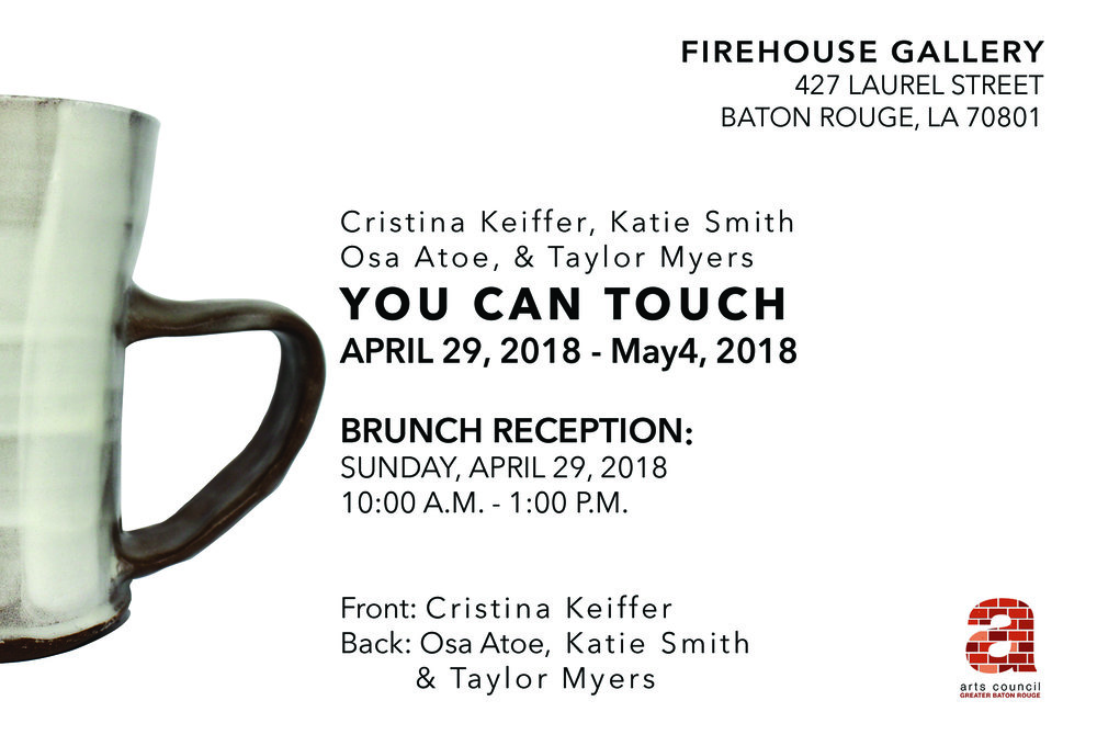 Ceramic artists Christina Kieffer, Osa Atoe, Katie Smith and Taylor Myers come together to showcase their recent bodies of work in our Firehouse Gallery. Join them for a special brunch reception on Sunday, April 29th from 10am - 1pm. The Show will be on view from the 29th until May 4th.   NOTE: Some artwork may not be suitable for very young audiences. Parental discretion is advised.