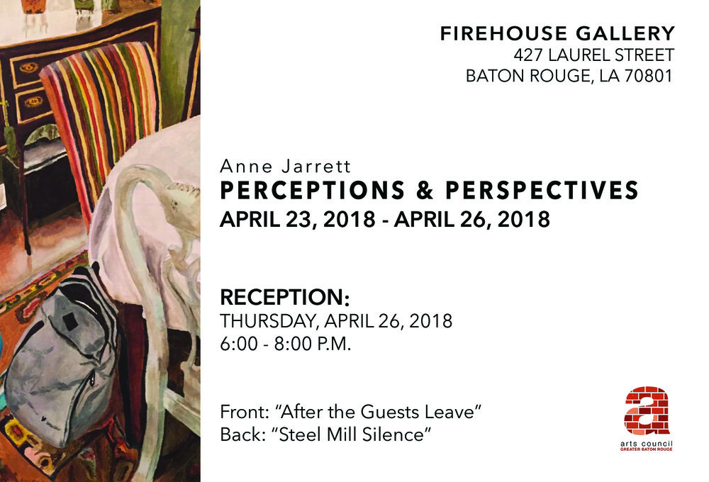 """Painter Anne Jarrett will be exhibiting her recent body of work titled, """"Perceptions & Perspectives"""" in our Firehouse Gallery from April 23rd through April 26th. She will be present for the closing reception on April 26th from 6-8pm."""
